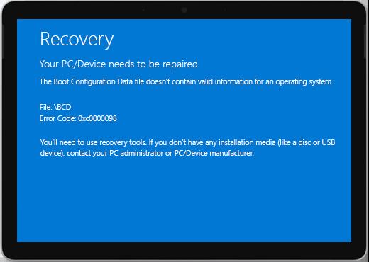 """Niebieski ekran z tytułem """"Odzyskiwanie"""" i komunikatem, że należy naprawić urządzenie."""