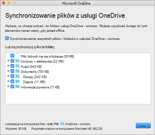 Zrzut ekranu przedstawiający menu konfiguracji usługi OneDrive w celu wybrania folderów lub plików do zsynchronizowania.