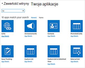 Obraz zawartości witryny przez dodawanie aplikacji