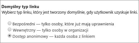Okno dialogowe Domyślny typ linku