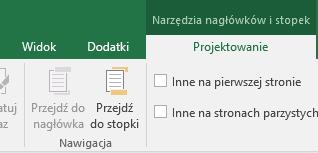 Podgrupa paska narzędzi Projektowanie w programie Excel