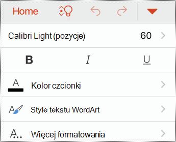 Menu Czcionka w aplikacji PowerPoint dla systemu iOS.