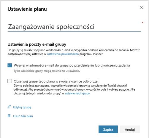 """Przechwytywanie ekranu: wyświetlanie ustawienia """"Wyślij wiadomość e-mail do grupy planu..."""" ustawienia planu"""