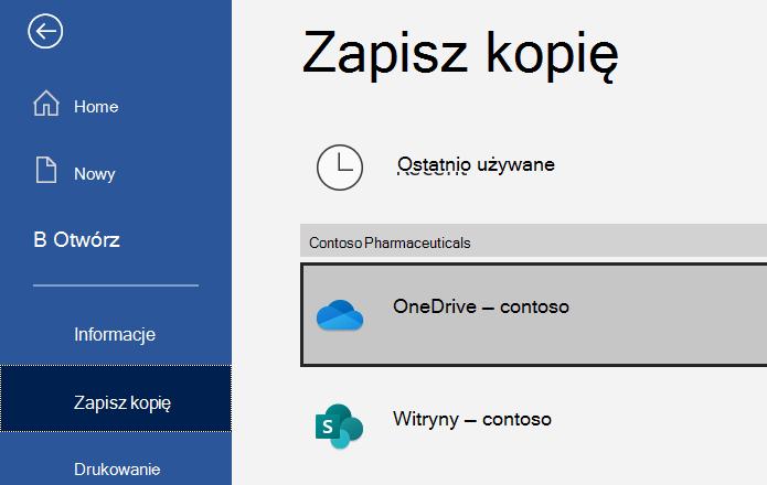 Zrzut ekranu przedstawiający okno dialogowe Zapisywanie jako w programie Excel