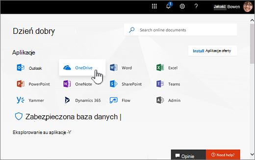 Ekran główny usługi Office 365 z wybierz pozycję OneDrive