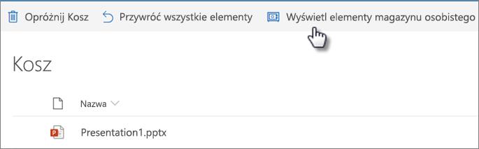 """Widok Kosza usługi OneDrive z wyświetloną opcją """"Pokaż elementy magazynu osobistego"""""""