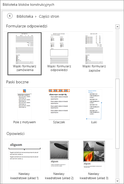 Zrzut ekranu przedstawiający fragment okna Biblioteka bloków konstrukcyjnych z wyświetlonymi miniaturami w kategorii Części strony.