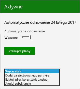 Zrzut ekranu przedstawiający menu Więcej akcji na karcie Subskrypcja w centrum administracyjnym.
