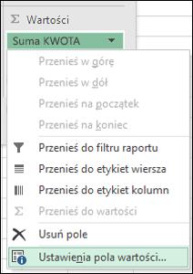 Okno dialogowe Ustawienia pola wartości w programie Excel