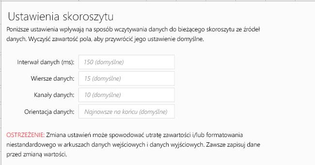 Wyświetlanie karty ustawienia skoroszytu dla linki danych