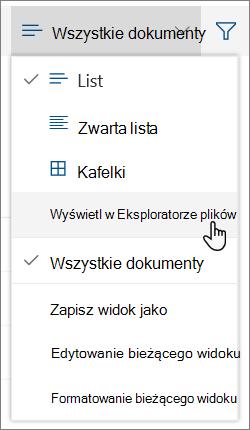 Wszystkie dokumenty menu z Otwórz w Eksploratorze plików wyróżnione