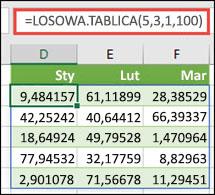 Funkcja LOSOWA.TABLICA z argumentami Minimum, Maksimum oraz Liczba dziesiętna