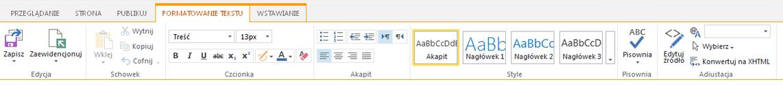 Zrzut ekranu przedstawiający kartę Formatowanie tekstu z wieloma przyciskami służącymi do formatowania tekstu