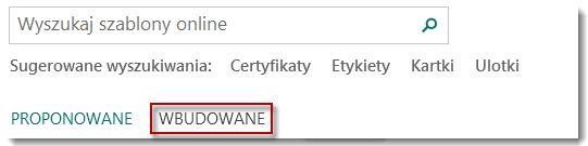 Strona szablonów programu Publisher 2013.