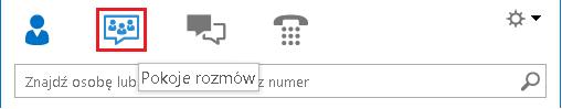 Zrzut ekranu: sekcja ikon w widoku okna głównego programu Lync z zaznaczonym pokojem rozmów