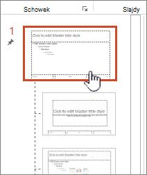 Wzorca slajdów zaznaczone za pomocą panelu miniatur