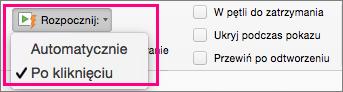 Opcje uruchamiania klipu wideo w programie PowerPoint 2016 dla komputerów Mac