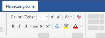 Opcje formatowania tekstu na wstążce programu Word