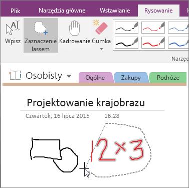 Zrzut ekranu przedstawiający sposób używania przycisku Zaznaczenie lassem w programie OneNote 2016.