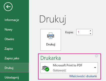 W menu rozwijanym Drukarka określ drukarkę, której chcesz używać.