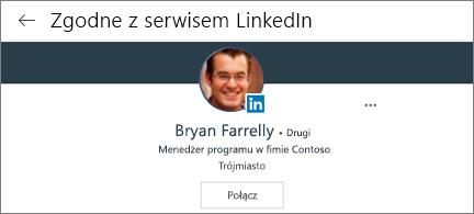 Karta profilu przedstawiająca połączoną fotografię, tytuł i przycisk Połącz