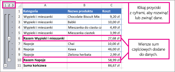 Przykład sum częściowych, przedstawiający sumy częściowe i liczby, które można klikać w celu rozwijania i zwijania danych