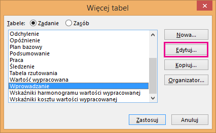 More Tables dialog box