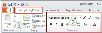 Przykład wstążki programu PowerPoint i jej elementy.
