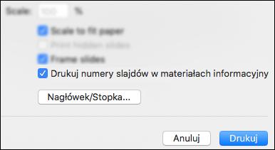 Okno dialogowe Drukowanie z wyświetloną opcją Drukuj numery slajdów w materiałach informacyjnych.