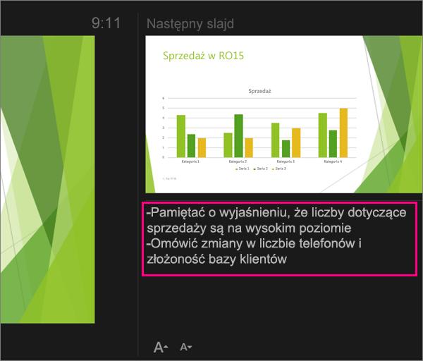 Notatki w widoku prezentera w programie PowerPoint 2016 dla komputerów Mac