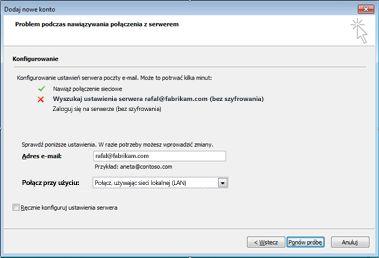 Okno dialogowe Dodawanie nowego konta z informacją, że nie można skonfigurować konta