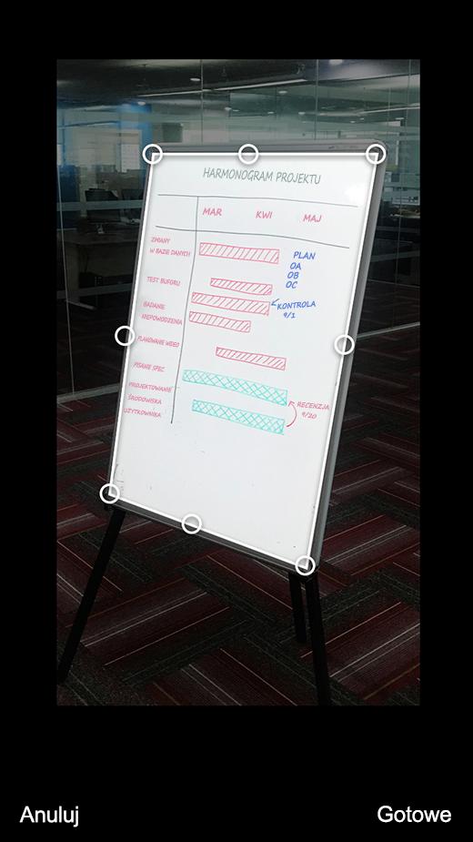 Przycinanie obrazu w programie Office Lens dla systemu iOS