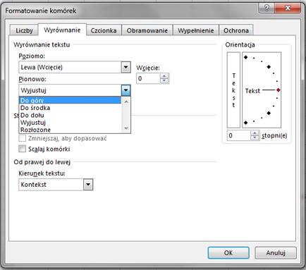 Karta Wyrównanie w oknie dialogowym Formatowanie komórek.