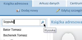 Pole wyszukiwania w bazie danych sieci Web