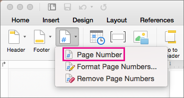 Na karcie Nagłówek i stopka kliknij pozycję Numer strony w menu Numer strony, aby dodać numer strony.