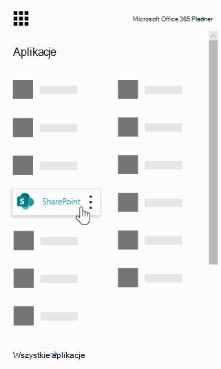 Uruchamianie aplikacji usługi Office 365 z aplikacji SharePoint wyróżnione