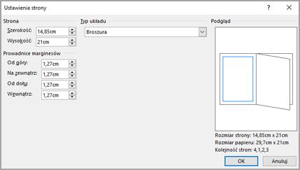 Okno dialogowe Ustawienia strony typ układu