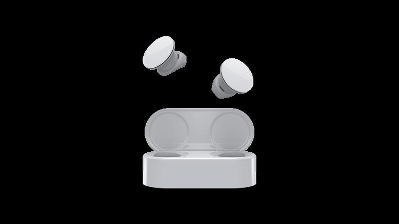 Zdjęcie przedstawiające urządzenie obsługujące słuchawki douszne Surface Earbuds