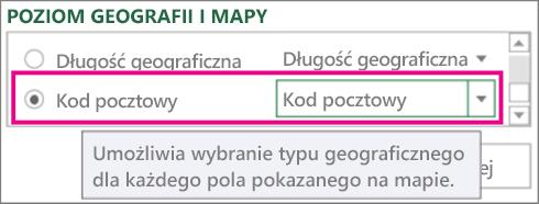 Mapowanie kodu pocztowego do obszaru