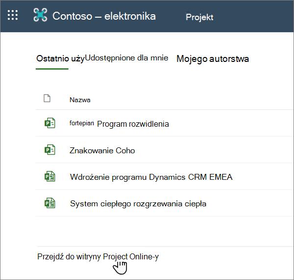 """Opcja """"przejdź do aplikacji Project Web App"""" w programie Project"""