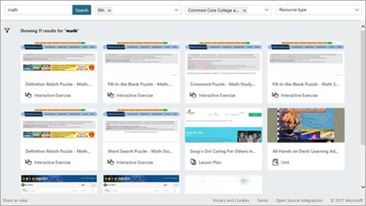 Wyszukiwanie zasobów w programie OneNote instytucji edukacyjnych