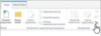 Pozycja Usuń dokument na karcie Plik