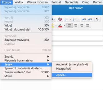 Program Outlook 2016 dla komputerów Mac, menu Edycja > Język
