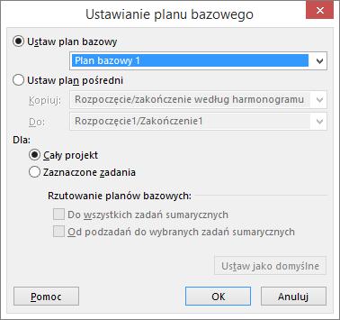 Zrzut ekranu przedstawiający okno dialogowe Ustawianie planu bazowego.