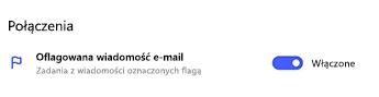 Włączone oflagowanie wiadomości e-mail w ustawieniach To Do