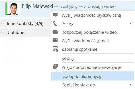 Zrzut ekranu przedstawiający pozycję Dodaj do ulubionych