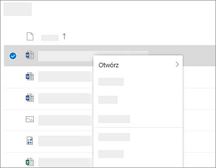 Zrzut ekranu przedstawiający menu skrótów dla zaznaczonego pliku