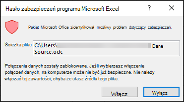 Powiadomienie o zabezpieczeniach programu Microsoft Excel — wskazuje, że program Excel zidentyfikował potencjalne zagrożenie bezpieczeństwa. Wybierz pozycję Włącz, jeśli ufasz źródłowej lokalizacji plików, wyłącz je.