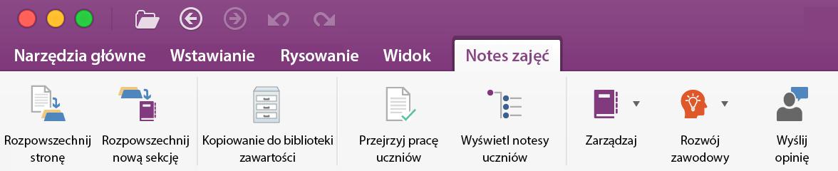 Narzędzia do zarządzania notesu zajęć na Wstążce