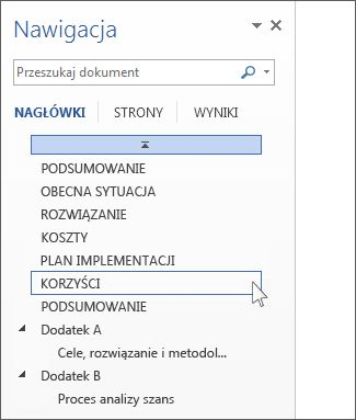 Przeglądanie według nagłówków w okienku nawigacji